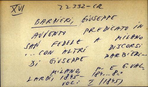 Avvento predicato in San Fedele a Milano ... con altri discorsi di Giuseppe Barbieri