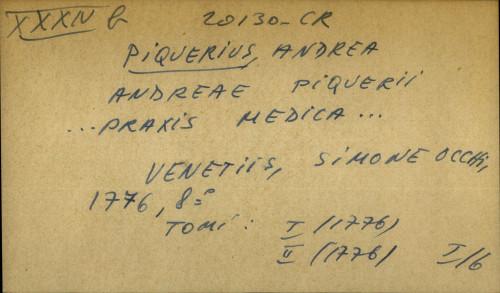 Andreae Piquerii… praxis medica...