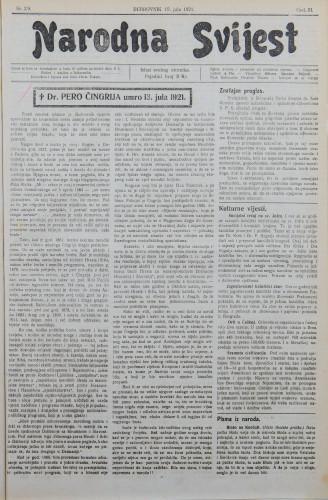 Narodna svijest, 1921/29