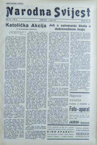 Narodna svijest, 1938/22