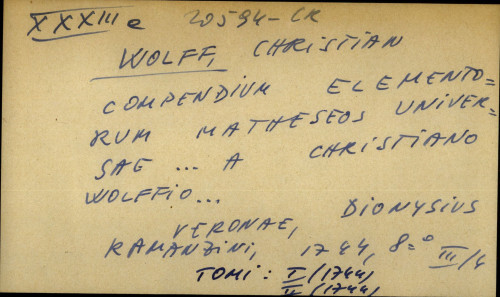 Compendium elementorum matheseos universae... a Christiano Wolffio...
