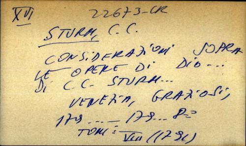 Considerazioni sopra le opere di Dio...di C.C. Sturm...