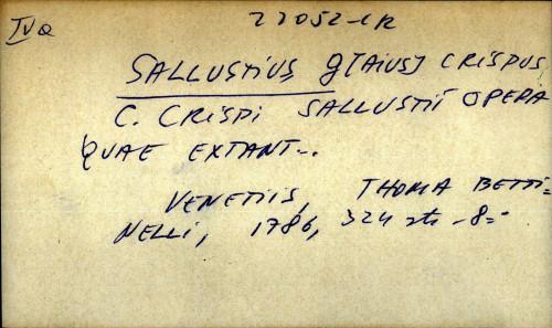 C. Crispi Salustii Opera quae extant...
