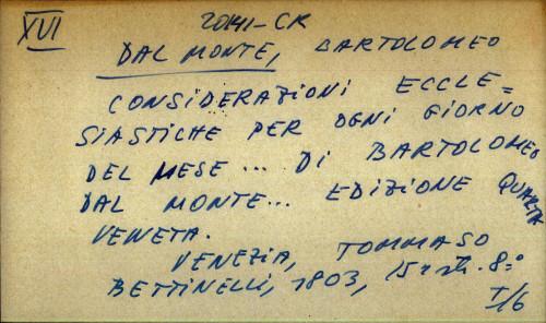 Considerazioni ecclesiastiche per ogni giorno del mese ... di Bartolomeo Dal Monte