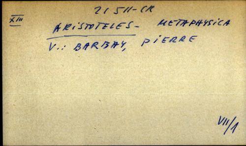 Aristoteles metaphysica - uputnica