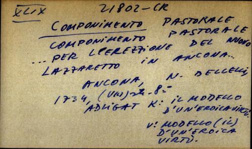 Componimento pastorale... per l'erezzione del nuovo lazzaretto in Ancona...