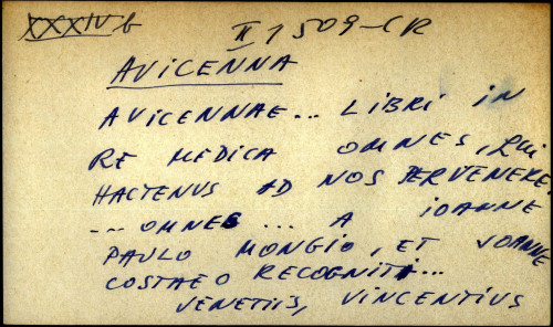 Avicenna ... libri in re medica omnes, qui hactenus ad nos pervenere ... omnes ... a Ionanne Paulo Mongio, et Joanne Costae o recogniti ...