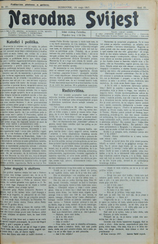 Narodna svijest, 1927/20