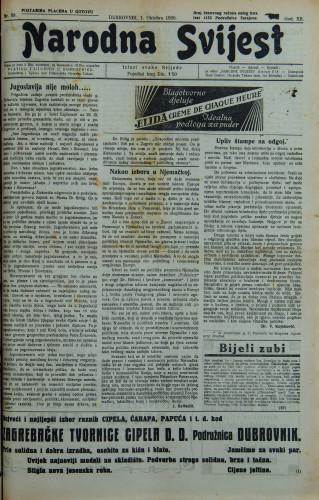 Narodna svijest, 1930/39
