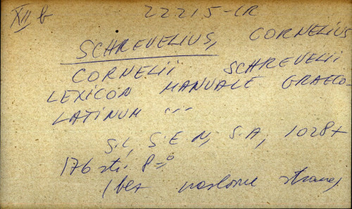Cornelii Schrevelii lexicon manuale graeco - latinum ...