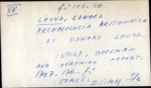 Archaeologia britannica ... by Edward Lhuyd