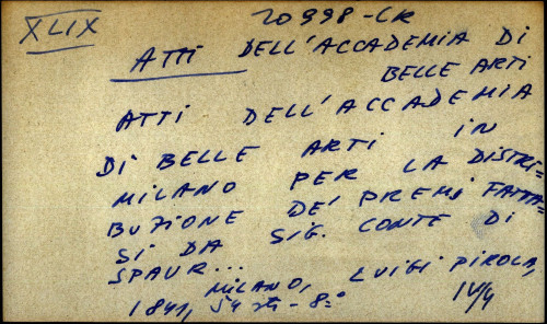 Atti dell'accademia di belle arti in Milano per la distribuzione de' premi fattasi da sig. conte di spaur ...
