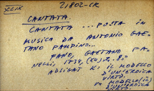 Cantata ... posta in musica da Antonio Gaetano Pampino ...