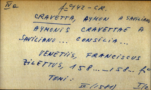 Aymonis Cravettae a Saviliano... Consilia...