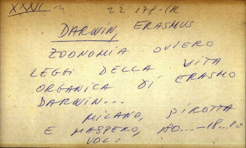 Zoonomia ovvero leggi della vita organica di Erasmo Darwin