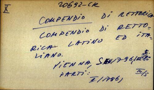 Compendio di rettorica compendio latino ed italiano.