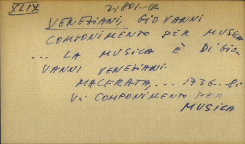 Componimento per musica...la musica e di Giovanni Veneziani