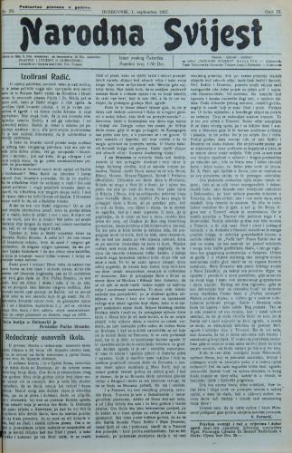 Narodna svijest, 1927/35
