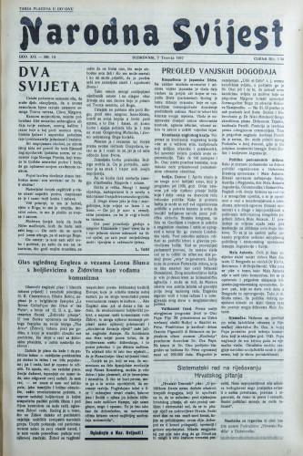 Narodna svijest, 1937/14