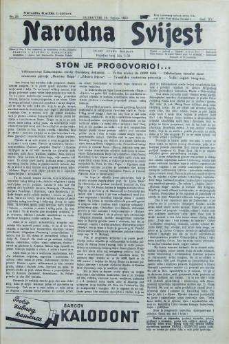Narodna svijest, 1933/29