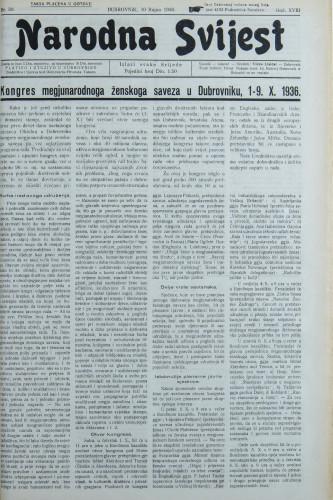 Narodna svijest, 1936/39