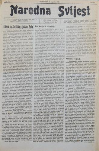 Narodna svijest, 1921/31