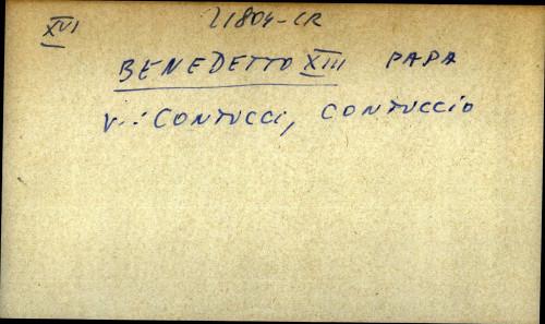 Benedetto XIII papa - uputnica