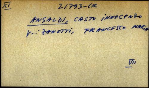 Ansaldi, Casto Innocenzo - uputnica