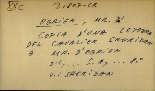 Copia d'una lettera del Cavalier Sheridan a Mr. D'Obrien - uputnica