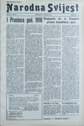 Narodna svijest, 1938/48