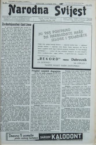 Narodna svijest, 1934/40