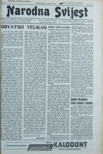 Narodna svijest, 1935/38