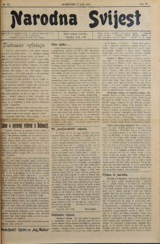 Narodna svijest, 1922/23