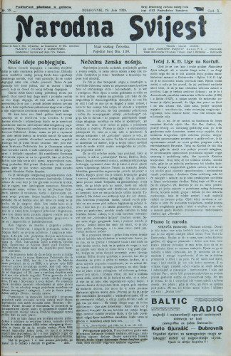 Narodna svijest, 1928/29