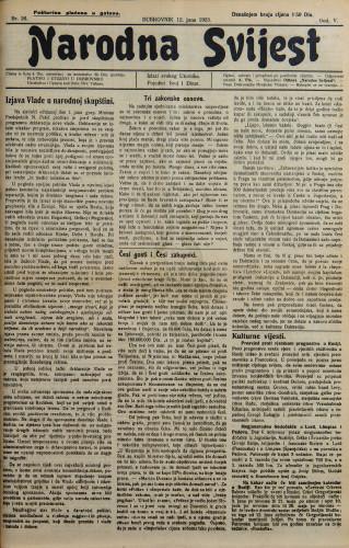 Narodna svijest, 1923/26