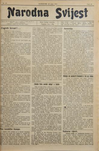 Narodna svijest, 1922/25