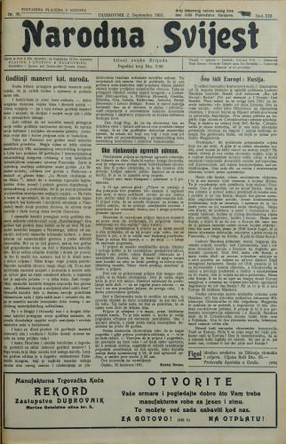 Narodna svijest, 1931/36