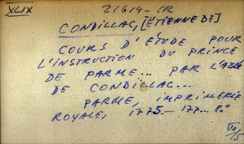 Cours d'etude pour l'instruction du prince de parme... par l'abbe de condillac...