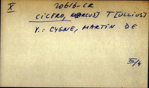 Cicero,M[arcus] T[ullius] - uputnica