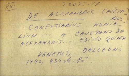 Confessarius monialium... a Cajetano De Alexandris