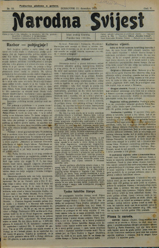 Narodna svijest, 1923/52