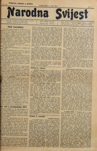 Narodna svijest, 1923/33