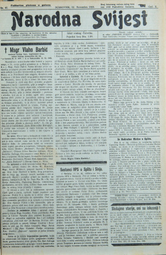 Narodna svijest, 1928/47