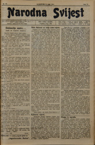 Narodna svijest, 1922/19