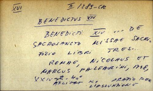 Benedicti XIV ... de sacrosancto missae sacrifilio libri tres