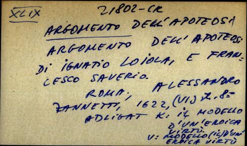 Argomento dell' apoteosi di Ignatio Loiola, e Francesco Saverio