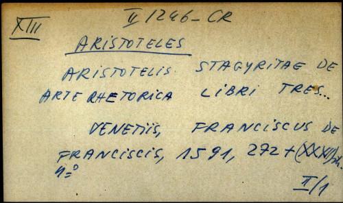 Aristotelis stagiritae de arte rhetorica libri tres ...