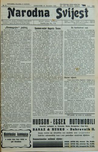 Narodna svijest, 1931/51