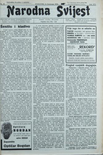 Narodna svijest, 1934/46
