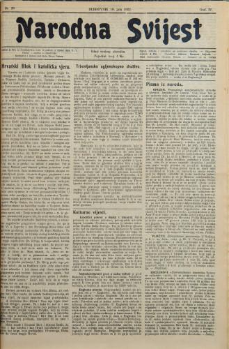 Narodna svijest, 1922/29
